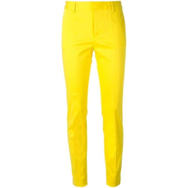 Dsquared2 Slim Trousers ($159) ❤ liked on Polyvore featuring pants, bottoms, housut, pantalones, trousers, slim fit trousers, slim pants, dsquared2, yellow pants and pocket pants