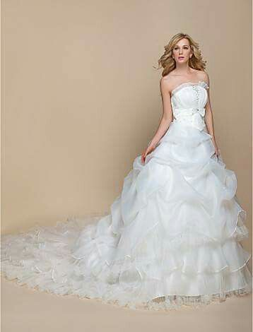 LTBridal A Line Princess Strapless Cathedral Train Organza Wedding Dress