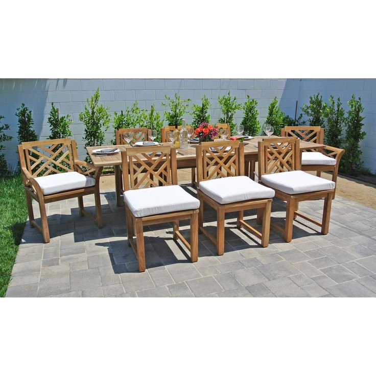 9 pc Monterey Teak Outdoor Patio Furniture Dining Set with Expansion Table. Sunbrella Cushions. (Brown/Beige), Tan, Size 9-Piece Sets