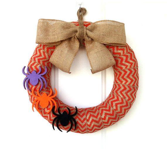 Seasonal Deal  Halloween Burlap Wreath  by WeddingsAndWreaths