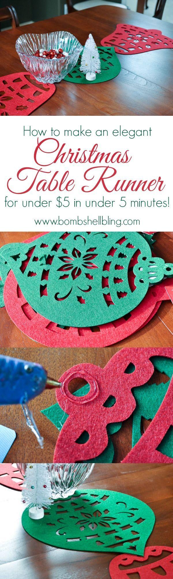 Navidad Tabla Runner- este es un lindo, divertido y fácil como idea - sintió formas del árbol del dólar, pegamento caliente.  con manteles de fieltro sobre mantel de la vendimia ?: