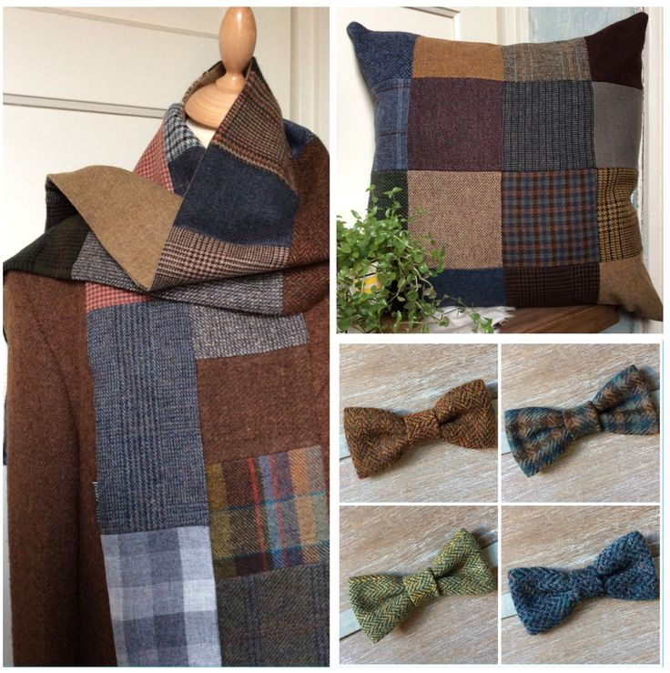 Lots of different tweed scarfs / scarves , cushion covers and bow ties. Check the webshop at www.bakerstreethandmade.com