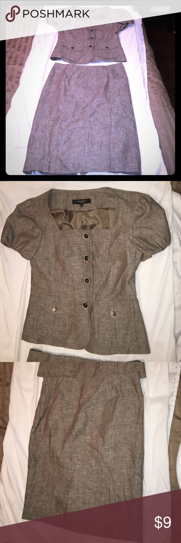Like new Nine West skirt suit Great condition worn once. Light tweed, linen woven. Short sleeve blazer. Nice length skirt. Very sharp and classic Nine West Skirts Skirt Sets