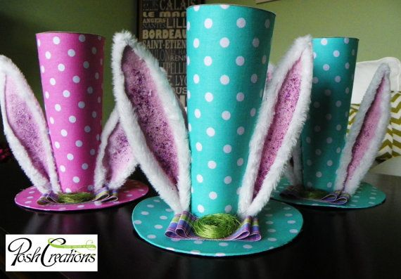 Polka Dot Easter Hat Easter Bunny Hat Easter by poshcreationsKY