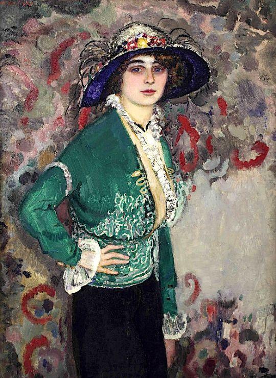 A Portrait of a Lady with a Hat  - Jan Slujiters 1911  Dutch painter 1881-1957