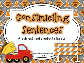 Use this cute construction themed lesson to teach your students about the different types of subjects and predicates.  Included are: Complete subject and predicate, Simple subject and predicate, and Compound subject and predicate.