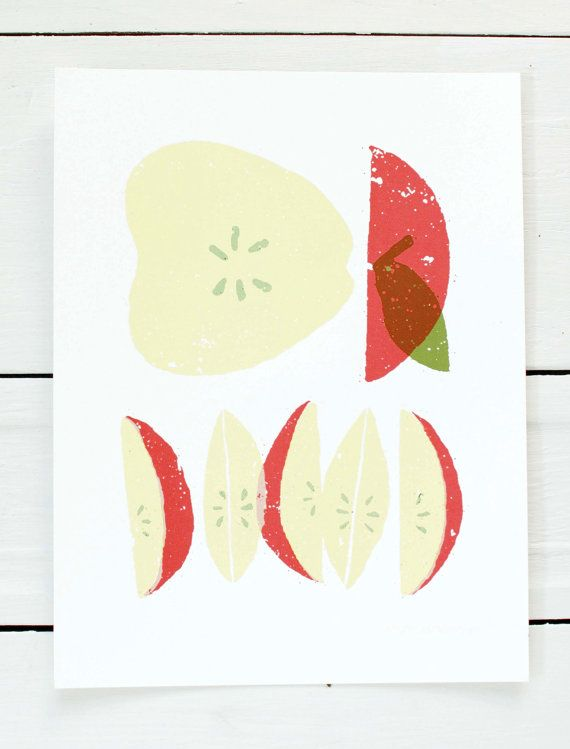 Day 185 - screen printed poster - Apple Slices via Etsy