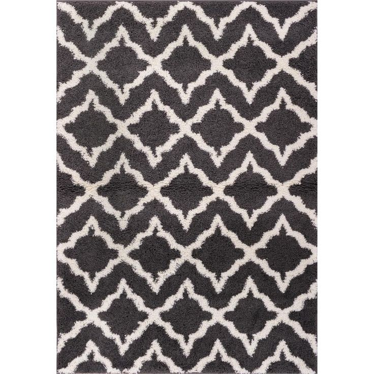 Madison Shag Linx Geometric Grey/Cream (Grey/Ivory) 5 ft. x 7 ft. 2 in. Modern Area Rug
