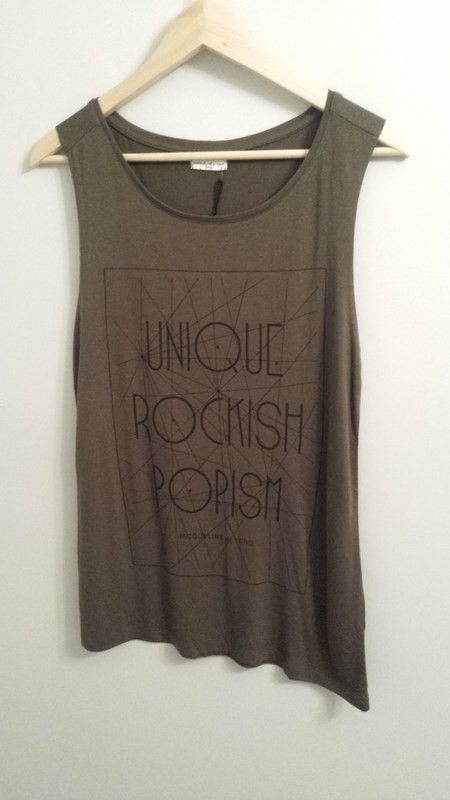 Troy Rockish Tank Top | 27 Boutique New from Jacqueline de Yong's limited edition collection - a fun casual tank with a T-shirt neck, and cutoff sleeves.
