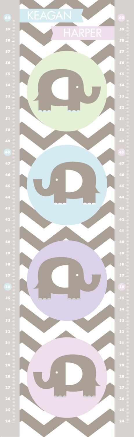 EleFUNt - Modern growth growth chart with chevron zigzag pattern by tinytribeart on Etsy https://www.etsy.com/listing/171349494/elefunt-modern-growth-growth-chart-with
