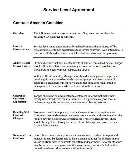 Sample Service Level Agreement Unglaublich Service Level Agreement