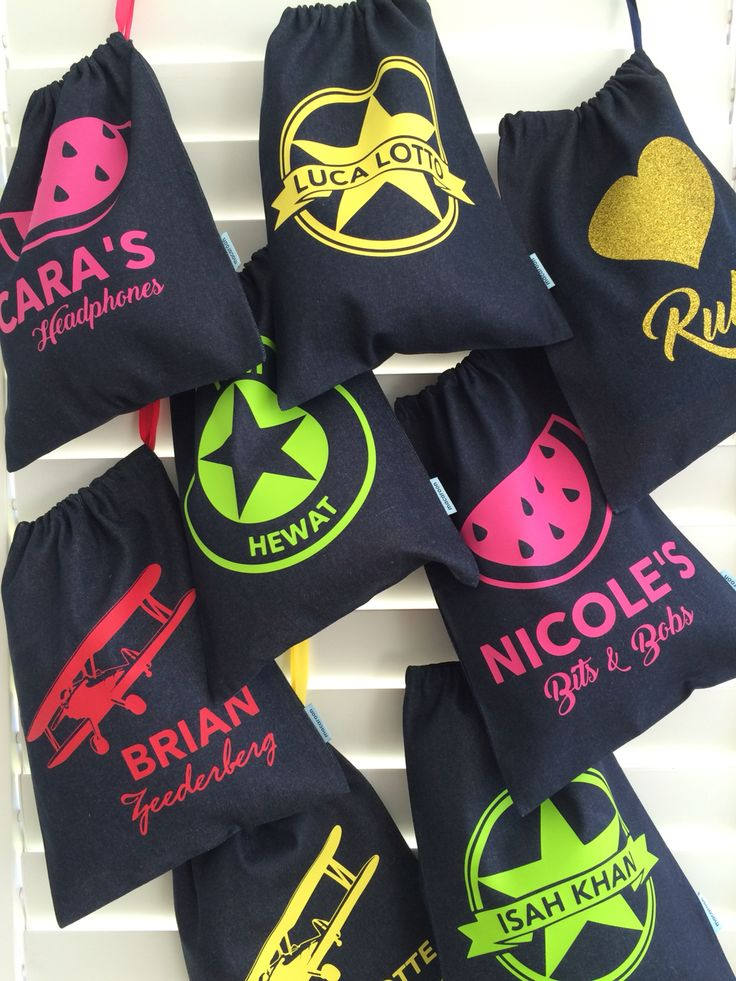 Assorted drawbags personalized online and ships worldwide www.macaroon.co.za