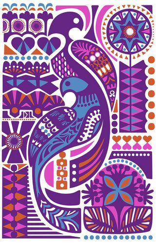 Mostly purples (dark purple, bright red purple/magenta) + blue with orange accetns