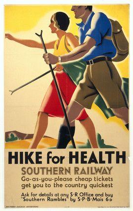 """Hike for Health"" - Vintage  UK Railway Poster."