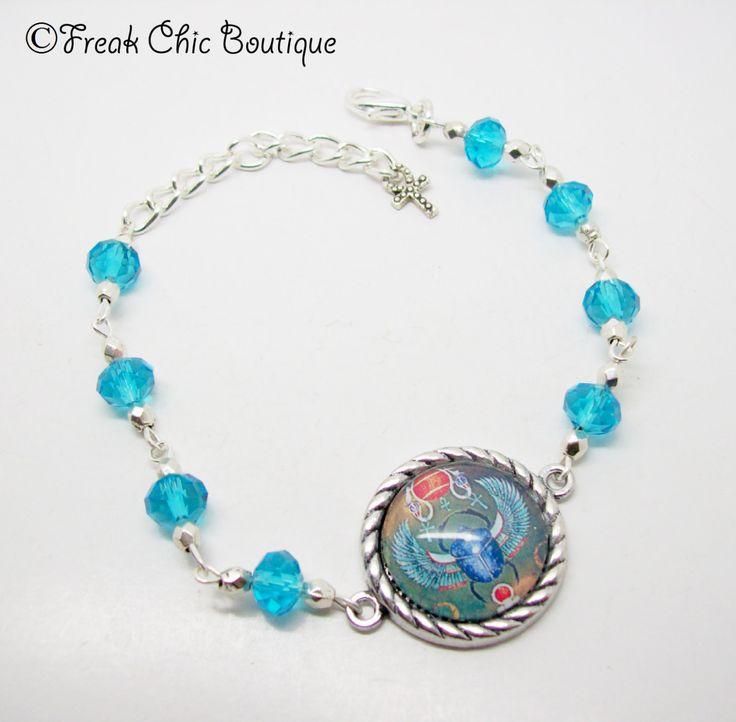 Scarab Bracelet - kheper  - Egyptian Jewelery - Egyptian Bracelet - Egyptian Jewellery - Atum - Amulet Bracelet by freakchicboutique on Etsy