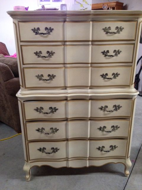 I found a WOOD set of French Provincial furniture at a used furniture store to replace the cheaper set.  Chest-before.
