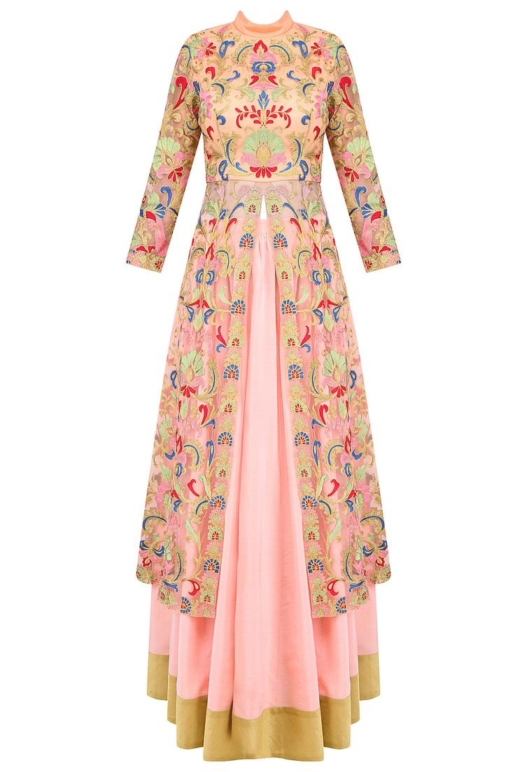 Pink floral embroidered jacket style kurta with skirt available only at Pernia's Pop Up Shop.