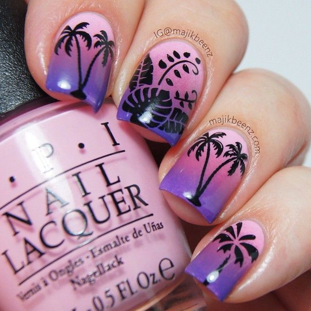 Tropical evening nails