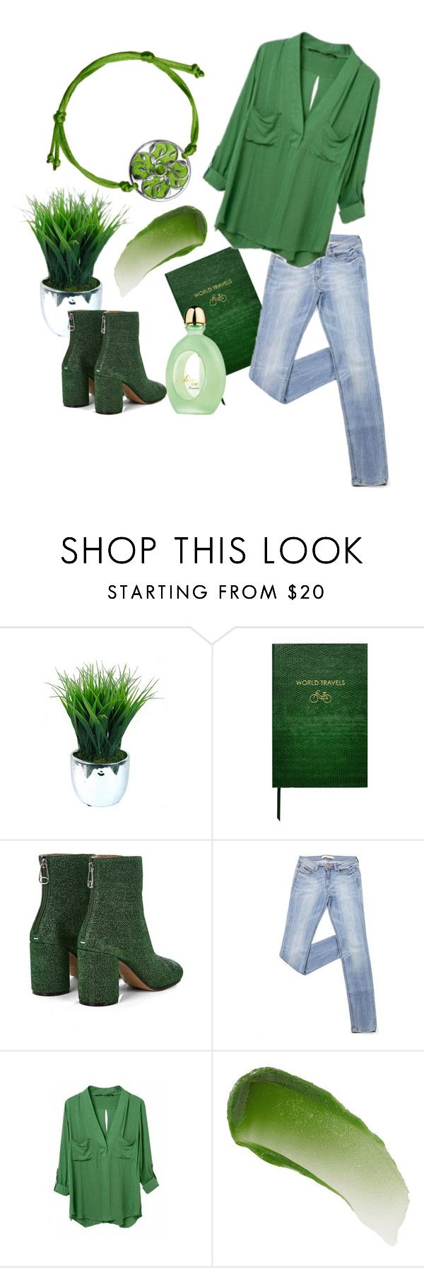 """Green"" by marina-labutina on Polyvore featuring Sloane Stationery, Maison Margiela, WithChic, Loewe и Lipstick Queen"