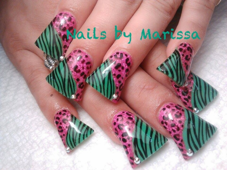Leopard Flared Acrylic nail art #by Marissa