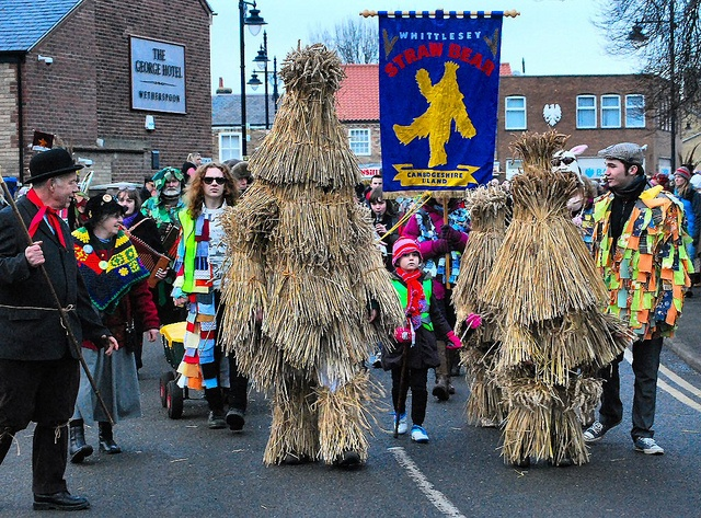 "Straw Bear Festival: ""In Whittlesey, Cambridgeshire, a gruesome figure of a straw bear, followed by sword dancers, cavorts through the streets, ending with burning the bear on the Saturday night."" Eccentric Britain www.bradtguides.com"