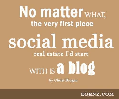 No matter what, the very first piece of social media real estate I'd start with is a blog by Christ Brogan  We also provide services such as Malaysia Website Design, Web Development Kuala Lumpur, Groupon Website, Auction Website, Ecommerce, SMS Blast Malaysia, Internet Marketing, SEO, Online Advertising Malaysia and etc. For more information, please visit our website www.Egenz.com or call us now +603-62099903. | egenz