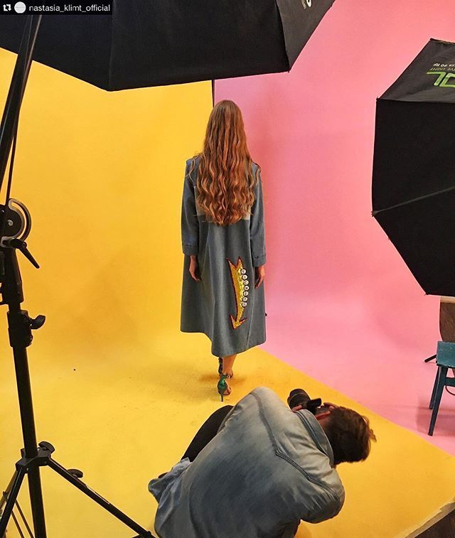 "Very cool BTS @nastasia_klimt_official! ________________ Repost @nastasia_klimt_official: Who like this jeans coat from our SS""2017 collection say it to us in the comments ✨ #nastasiaklimt #ss2017 #shooting #backstage #fashion #model #color #style Added by us: #behindthescenes #bts #studio #studiophotography #fashionphotography #setlife #famousbtsmagazine #famousbtsmag"