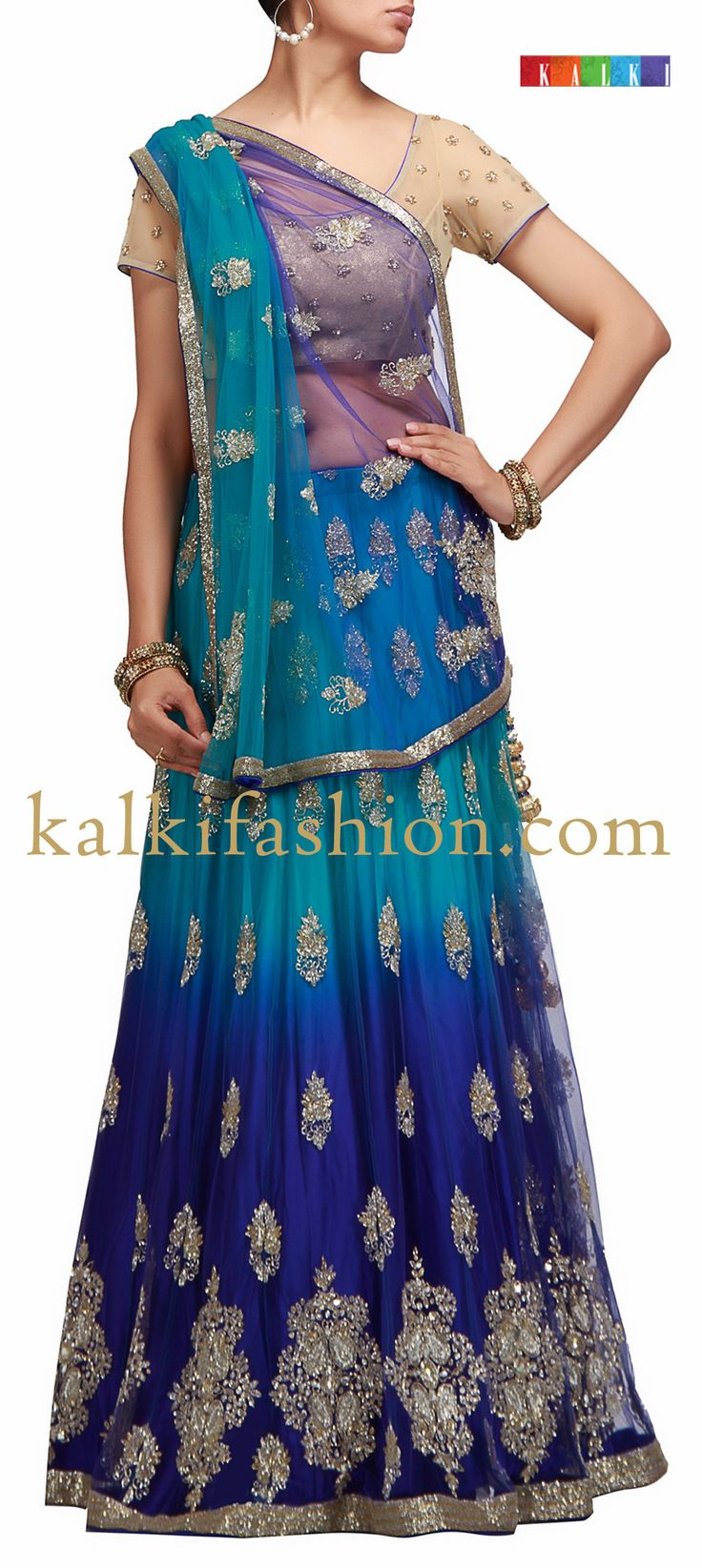 Buy it now http://www.kalkifashion.com/shaded-lehenga-in-blue-and-sea-green-with-kardana-work-hand-made.html Shaded lehenga in blue and sea green with Kardana work -Hand Made
