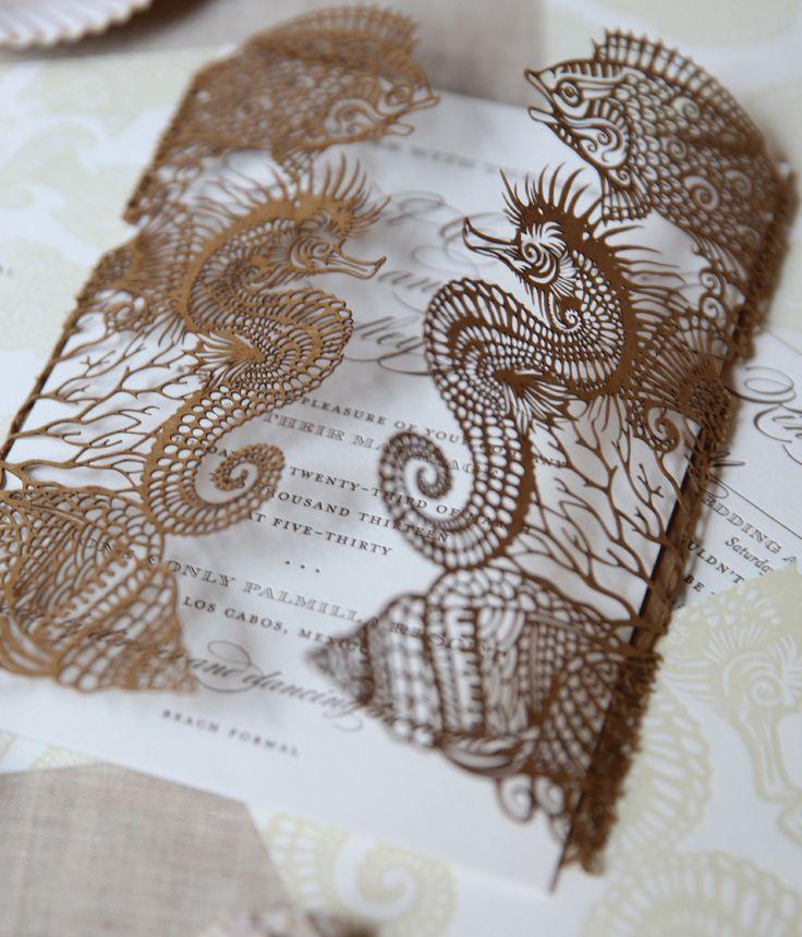 Laser Cut Invitation Wrap For A Destination Wedding Designed By Elizabeth  Grace