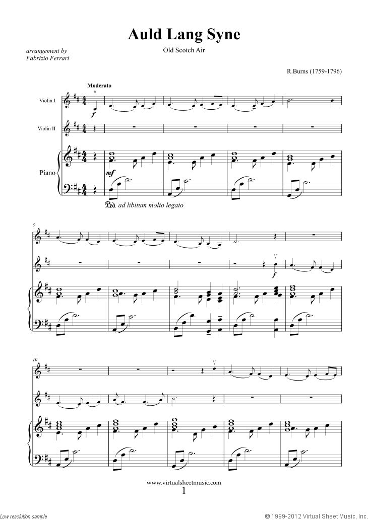 Burns - Auld Lang Syne sheet music for two violins and piano
