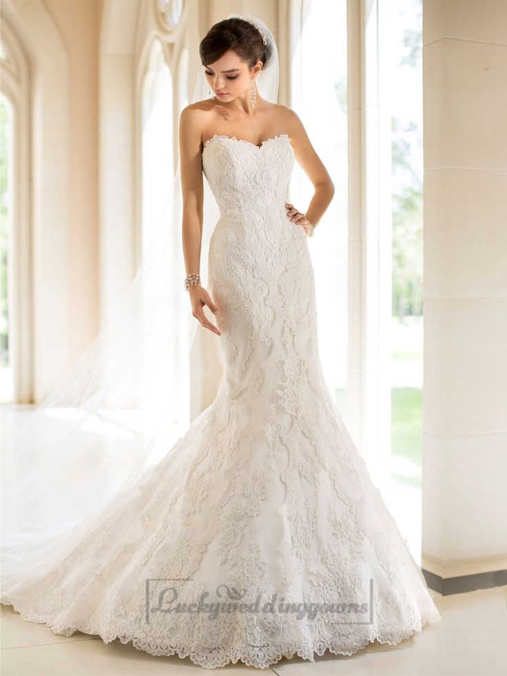 Strapless Trumpet Mermaid Sweetheart Lace Wedding Dresses