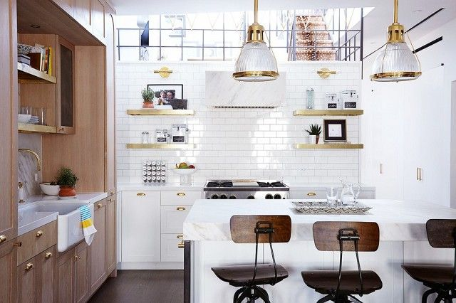 Brass Kitchen Pulls + Subway-Tile Wall + Drafter Stools