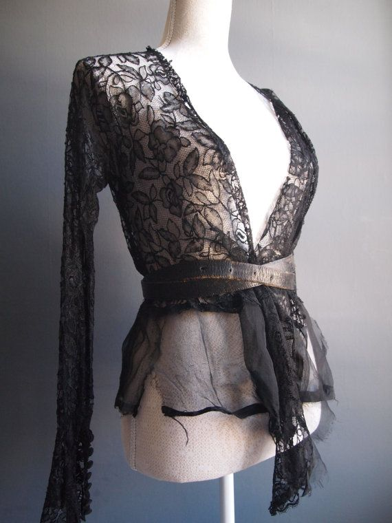 Antique Black lace blouse/vampy lace by GoldDustInOurHands on Etsy