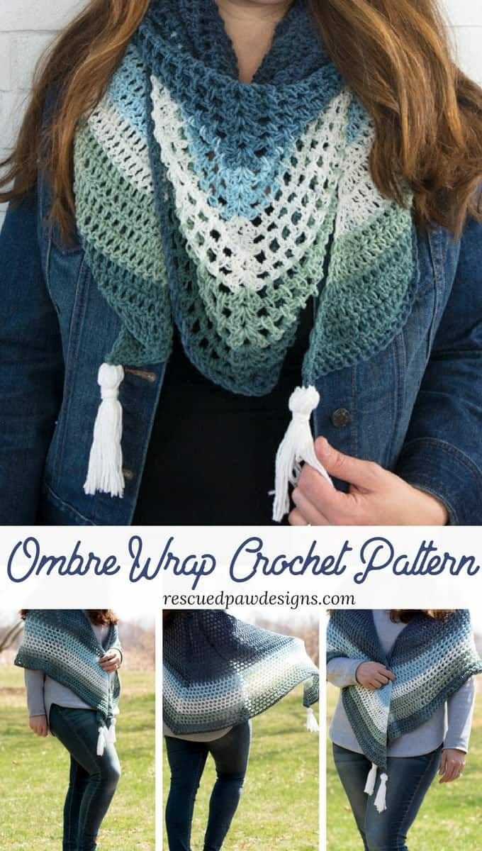 Ombre Crochet Triangle Wrap Pattern Nifty Gifties Pinterest