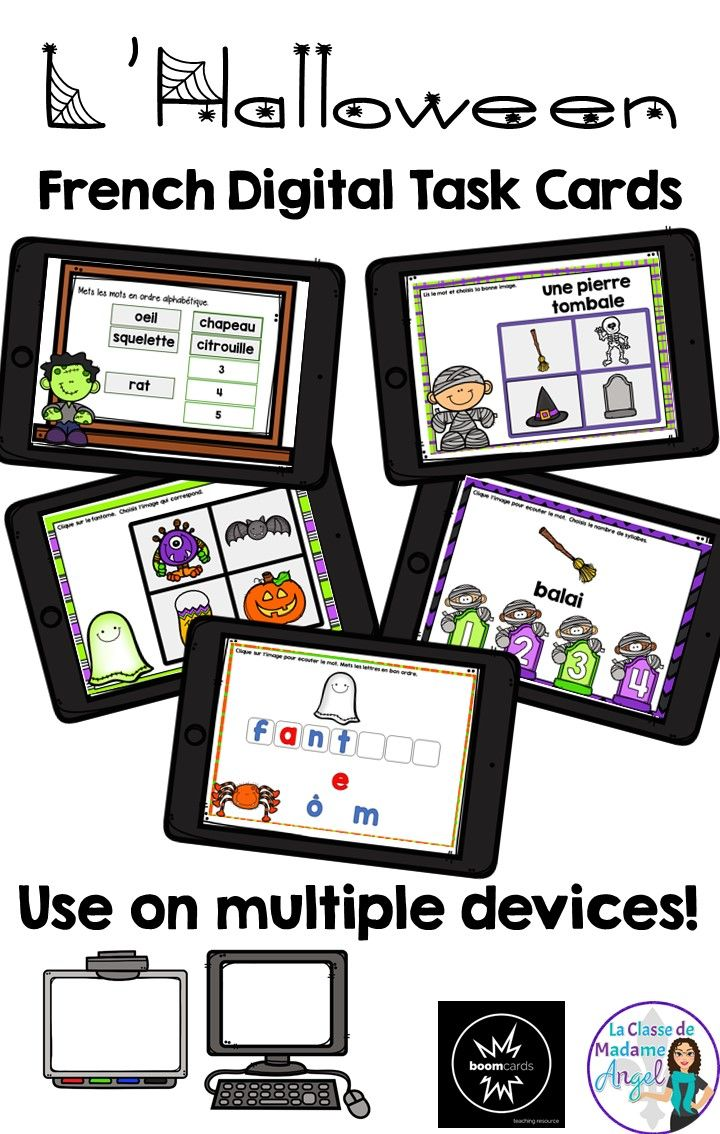 C'est l'Halloween! Engage your beginning French students with this interactive set of digital task cards hosted on Boom Learning. Students will have fun listening, spelling, reading and writing a variety of Halloween themed vocabulary words. Perfect for any device!