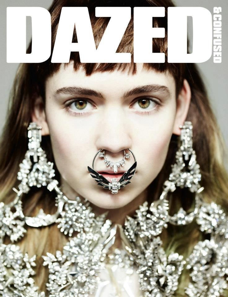 Grimes + Givenchy Couture + Hedi Slimane: Album Covers, Clear Clog, Nose Rings, Givenchy, Dazed And Confusion, Magazines Covers, Ears Cuffs, Haute Couture, Hedy Sliman