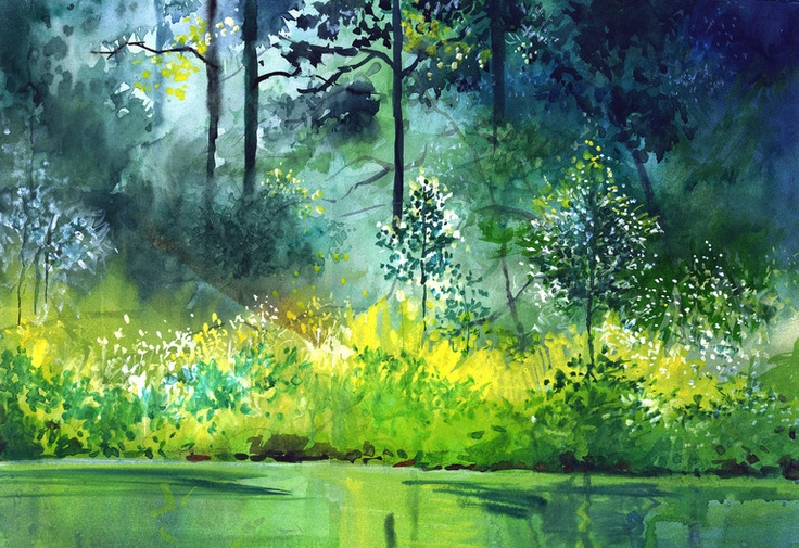 "Saatchi Online Artist: Anil Nene; Watercolor, 2010, Painting ""Light n Greens"""