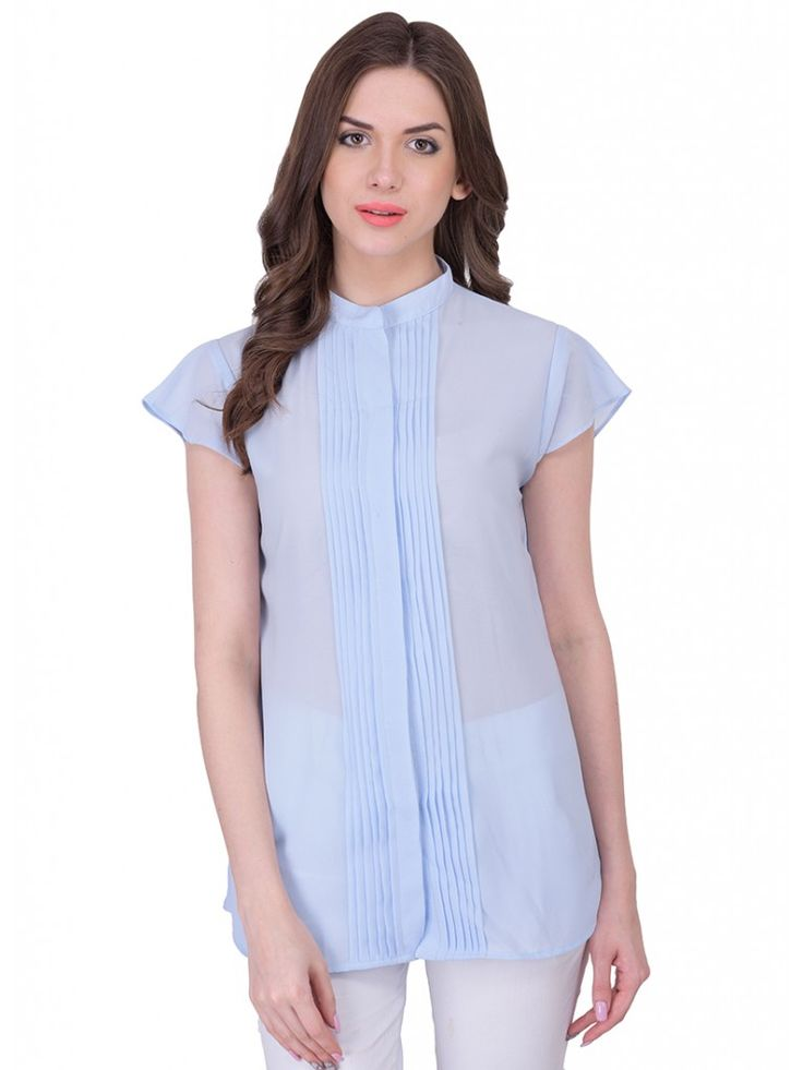 Blue Casual Georgette Solid Sleeveless Top