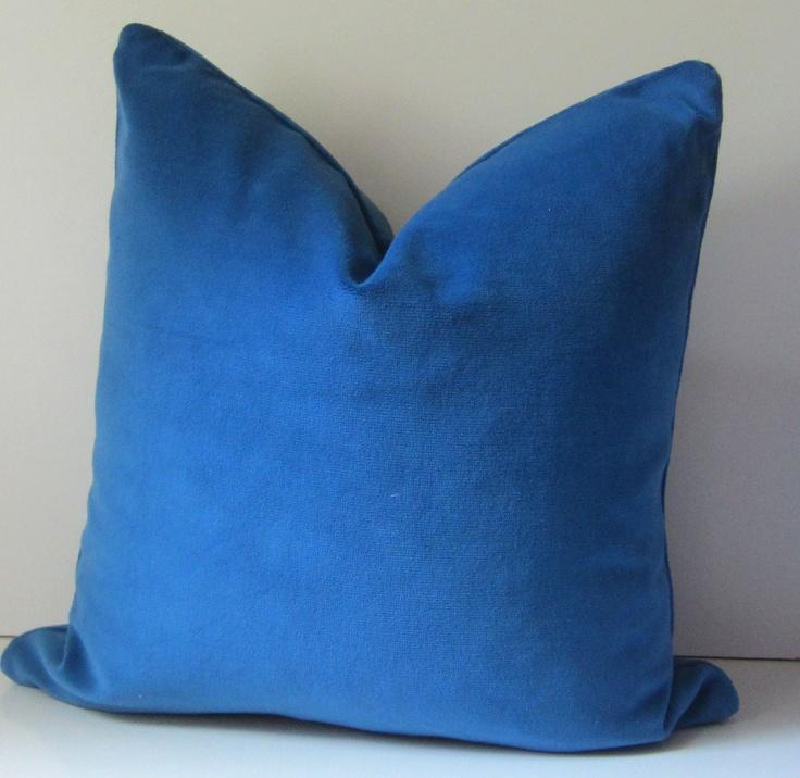 Cerulean Blue Throw Pillows : Blue Velvet Pillow - Decorative Pillow Cover - 20 inch - Olympian blue - cobalt blue - velvet ...
