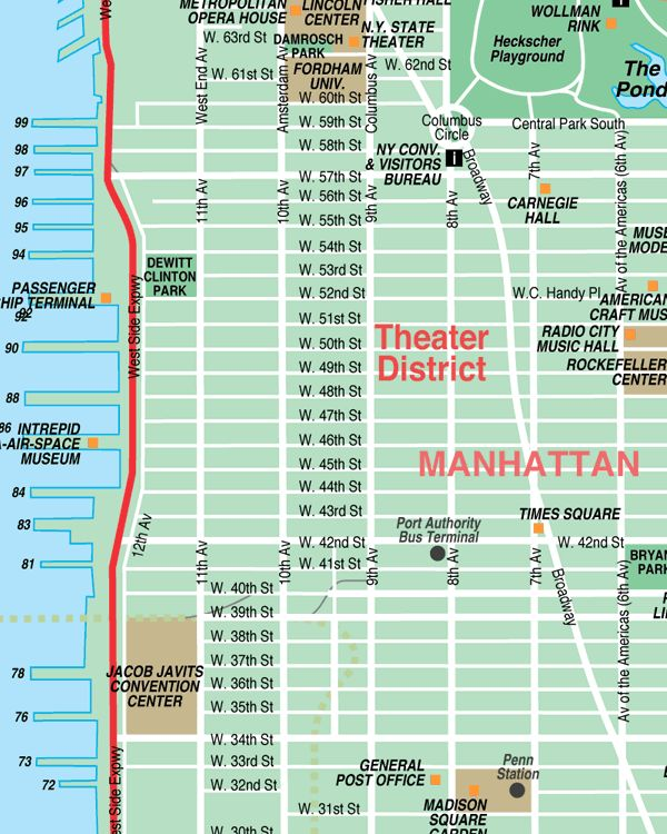 broadway theater district map new york city