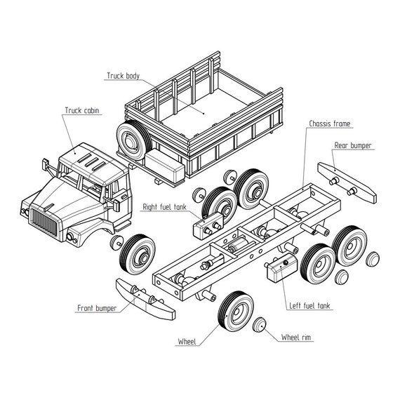 Russian ZIL-131, wooden truck model woodworking plans for DIY. PDF ...