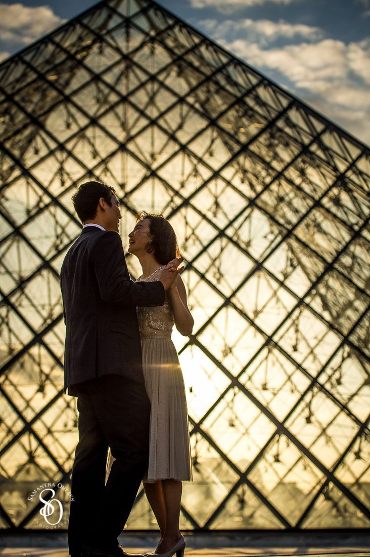 Paris is a dream destination for a #prewedding photo shoot. The #louvre was an amazing location with the #sunset behind the glass pyramid. This couple was a part of #aeuropeanlovestory artistic project during the European Summer of 2015.