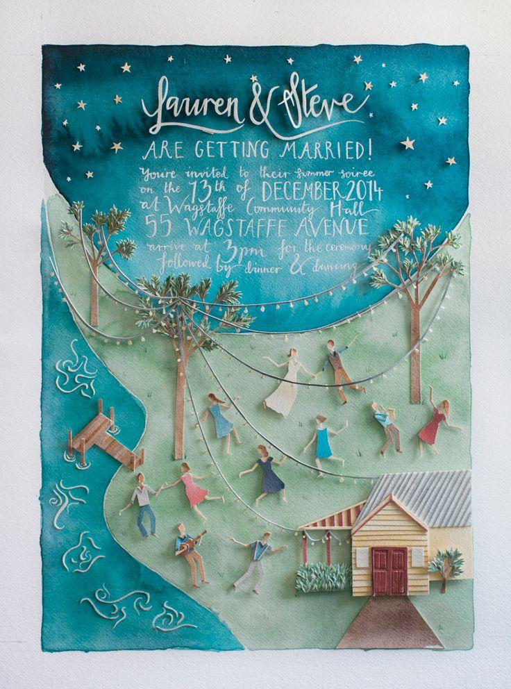 Watercolour wedding invitation made by the bride - Lauren Merrick Illustration