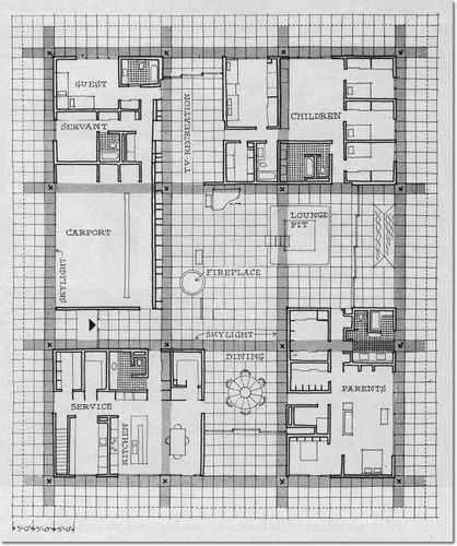 Floor plan for the Miller house, Columbus, Indiana, designed by Eero Saarinen…