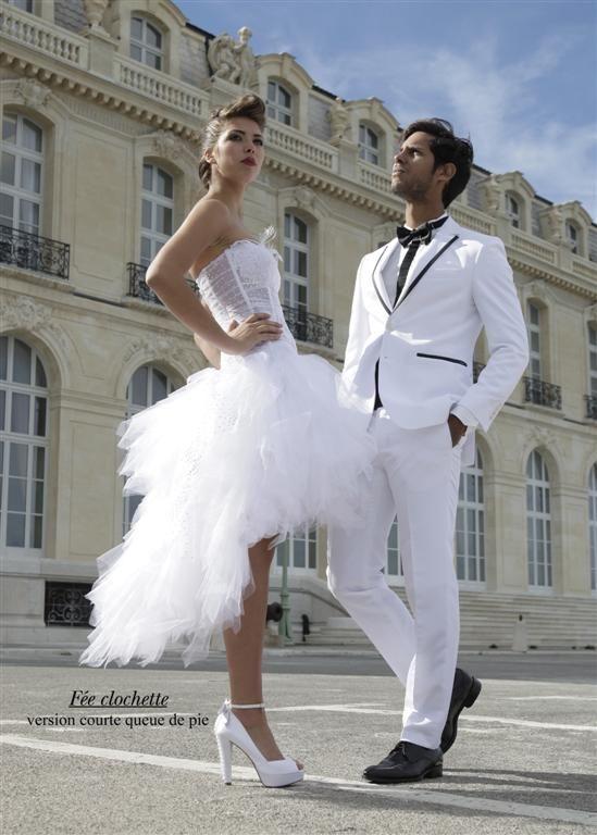 Robe de mariée FEE CLOCHETTE avec sa jupe modulable courte pour le soir Robes de mariées Robes de mariée à Marseille - Nathalie Elbaz-Cleuet...