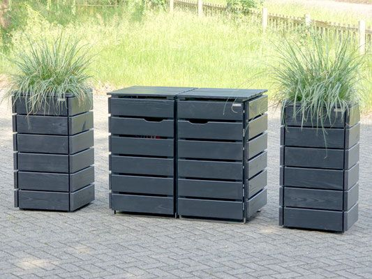 2er Mülltonnenbox Holz, für 120 L + 240 L Tonnen, Farbe: Anthrazit