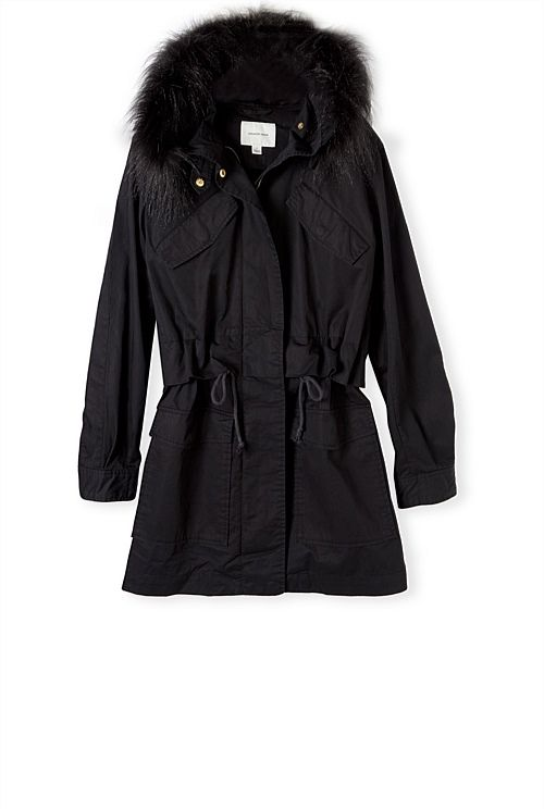 Faux Fur Trim Parka. Not for right now but I can see it working in a couple of months