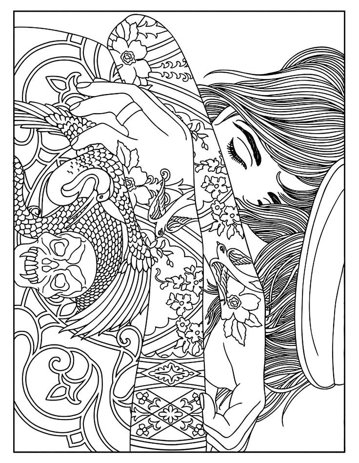 free coloring page coloring woman tattoos a woman with tattoos