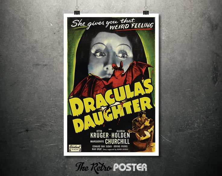 Dracula's Daughter - Horror - Movie Poster - 1930s, Cinema, Movie Poster, Film Poster, Film Prints, Old Movie Posters, Vampire, Movie Art by TheRetroPoster on Etsy