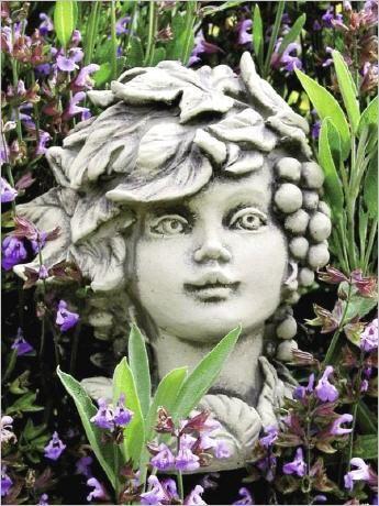 Blumenkind Aus Stein Blutenkopf Blumenkopf Steinguss Blumenkinder Blumen Gartenskulpturen